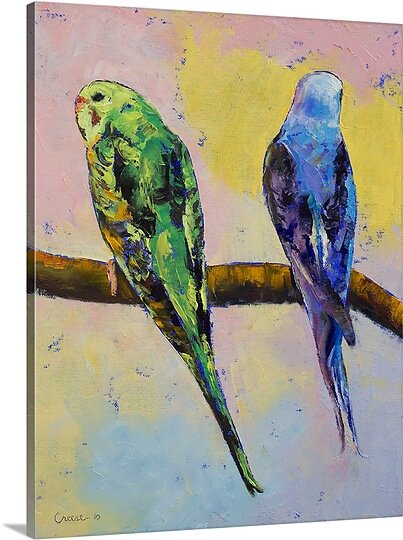 Budgies by Michael Creese Painting Print on Canvas by Canvas On Demand