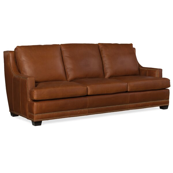 Young  Stationary Leather Sofa By Bradington-Young
