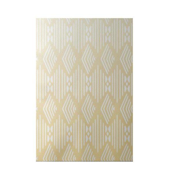 Fishbones Geometric Print Soft Lemon Indoor/Outdoor Area Rug by e by design