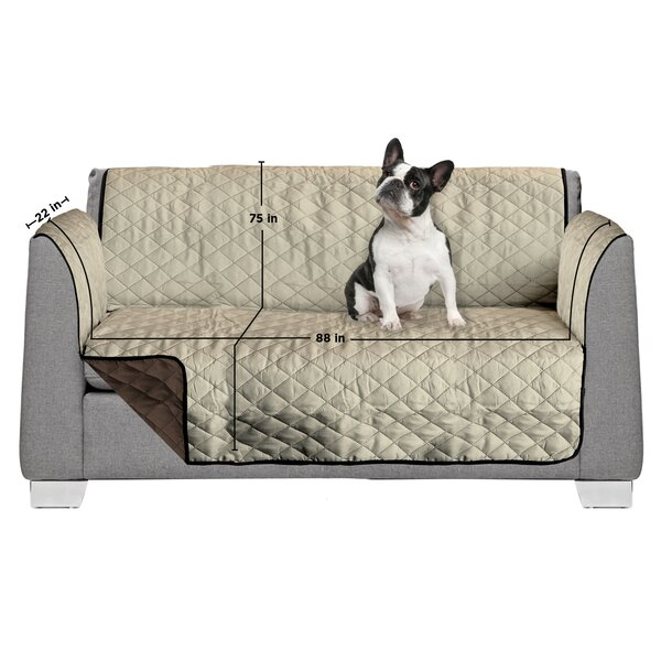 3 Seat Reversible Quilted Box Cushion Sofa Slipcover by AKC