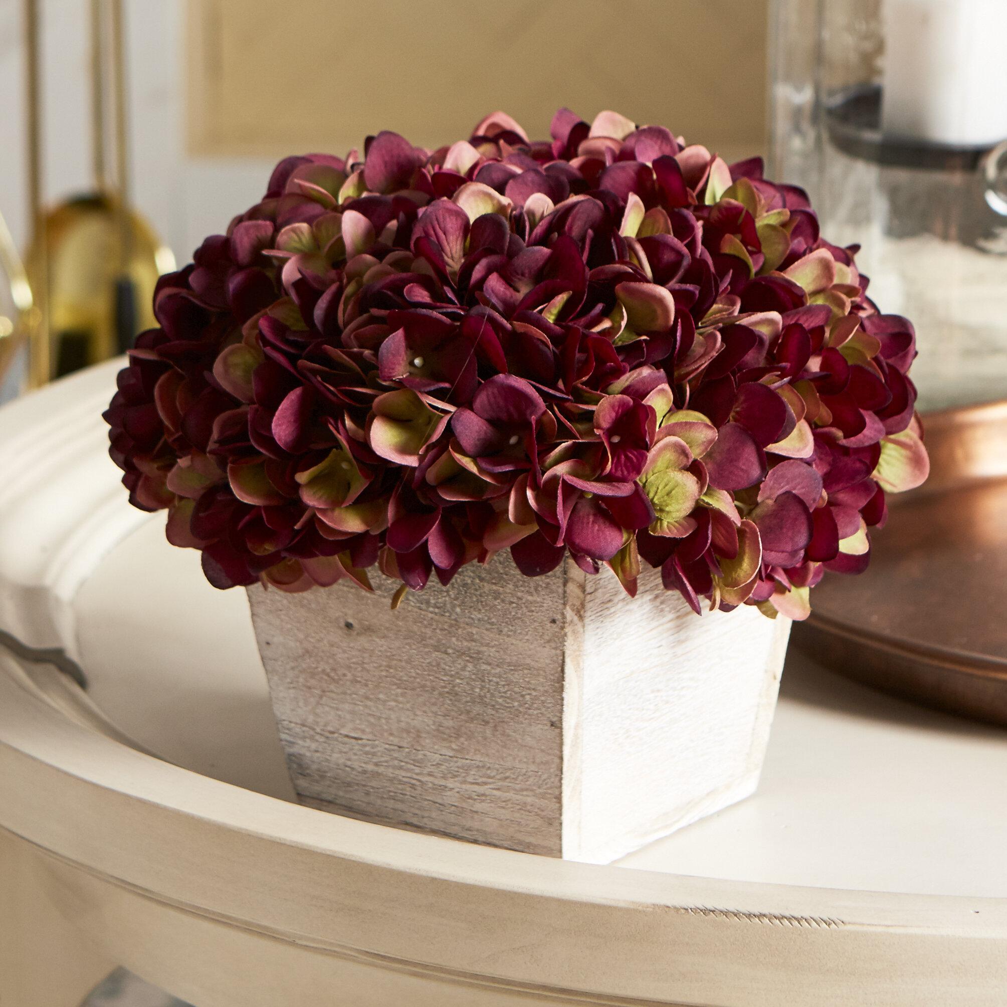 Lark Manor Hydrangea Floral Arrangement Washed Wood Cube Planter