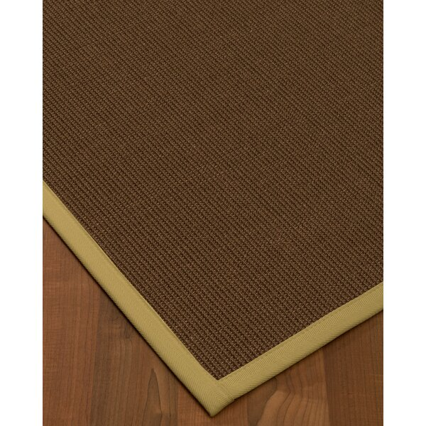 Heider Border Hand-Woven Brown/Sand Area Rug by Bloomsbury Market