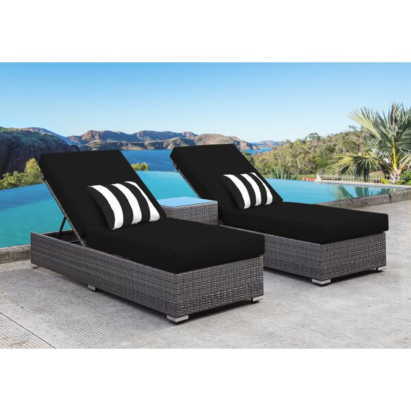 Zavis 3 Piece Reclining Chaise Lounge Set by Orren Ellis
