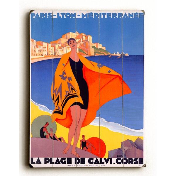 French Riviera Beach La Plage De Calvi Vintage Advertisement by Red Barrel Studio