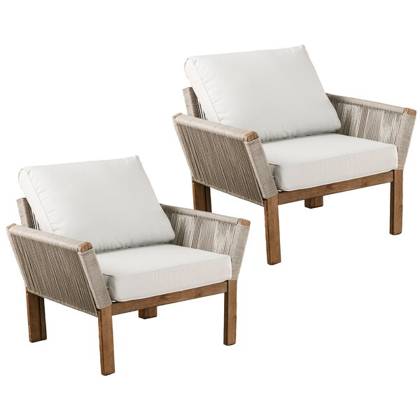 Brendina Patio Chair with Cushions (Set of 2) by Rosecliff Heights