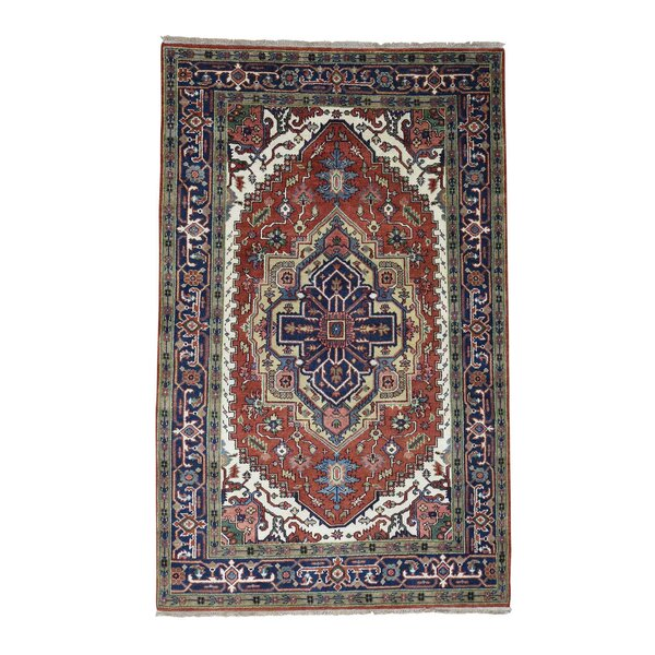 One-of-a-Kind Sager Serapi Heriz Hand-Knotted Rust Red Area Rug by Astoria Grand