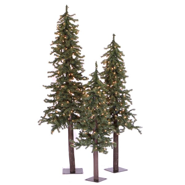 Natural Alpine Green Artificial Christmas Tree with 185 Clear Lights by The Holiday Aisle