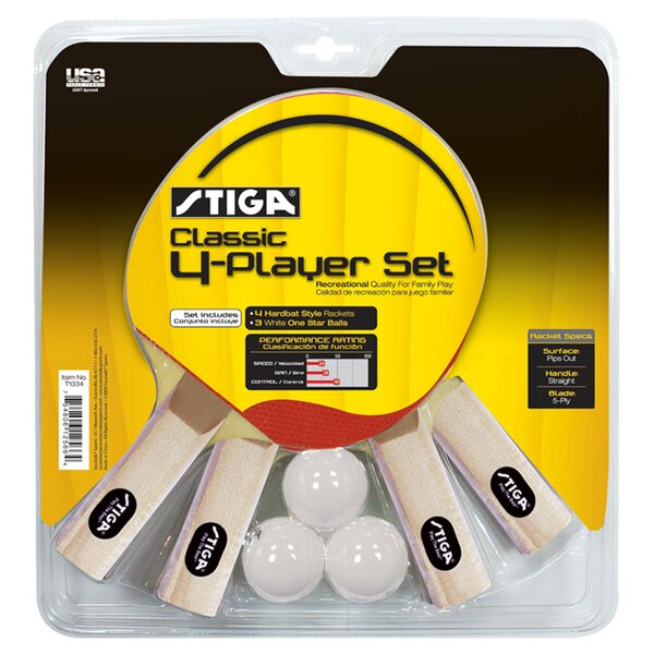 Classic 4 Player Table Tennis Racket Set by Stiga
