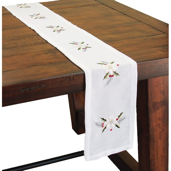 Country Poinsettia Embroidered Hemstitch Mini Table Runner by Xia Home Fashions