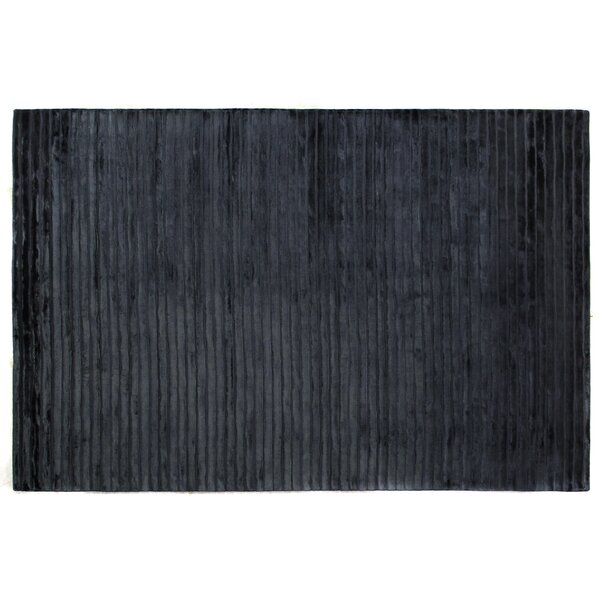 Wave Hand Woven Silk Navy Area Rug by Exquisite Rugs