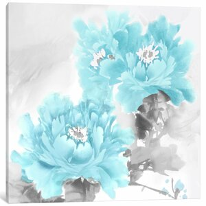 'Flower Bloom in Aqua II' Painting Print on Canvas by East Urban Home