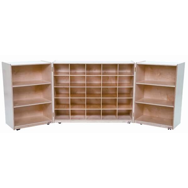 Folding 31 Compartment Shelving Unit with Casters by Wood Designs