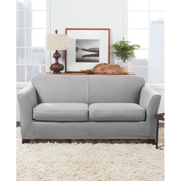 Ultimate Stretch Suede Box Cushion Loveseat Slipcover By Sure Fit