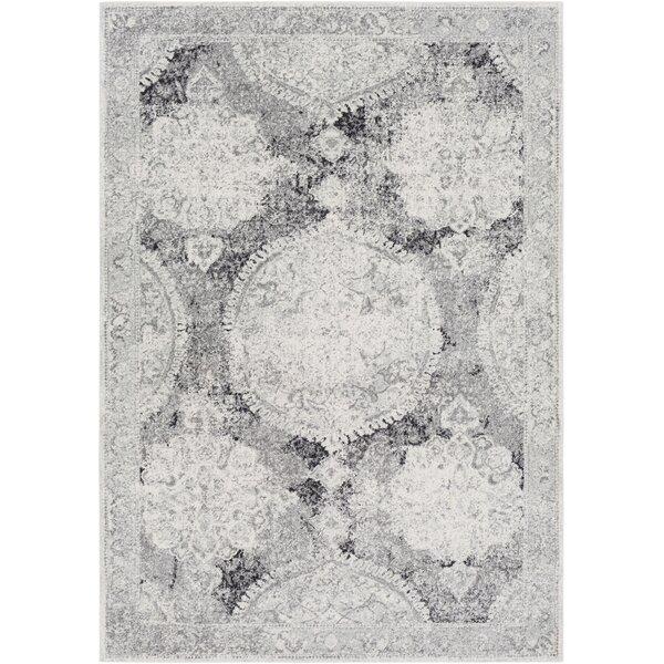 Arteaga Distressed Vintage Medallion Gray/White Area Rug by Bungalow Rose