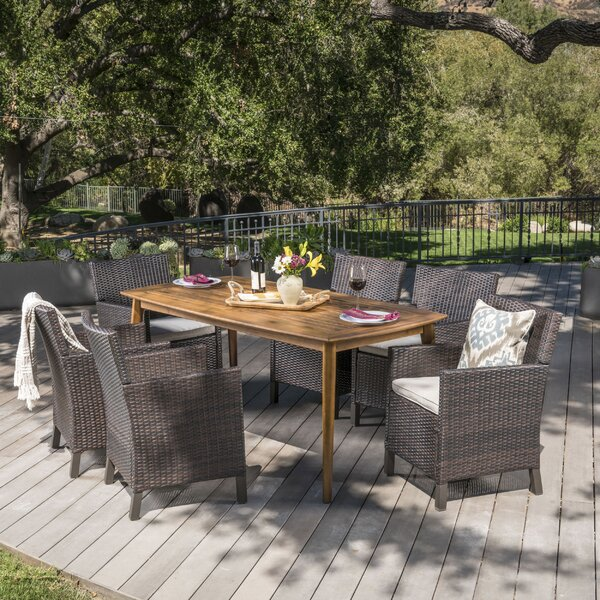 Pilger Outdoor Wicker Rectangular 7 Piece Dining Set with Cushions by Gracie Oaks
