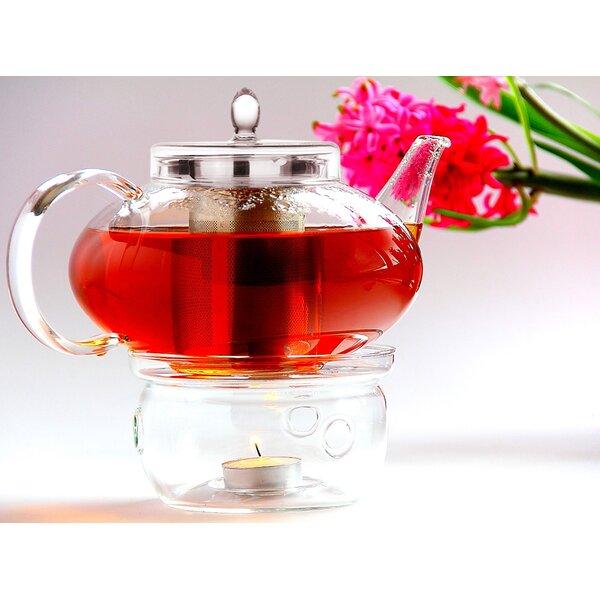 Harmony 2 Piece 1.31-qt. Glass Teapot with Tea Warmer Cozy Lead Free Special Glass No Drip by Tea Beyond
