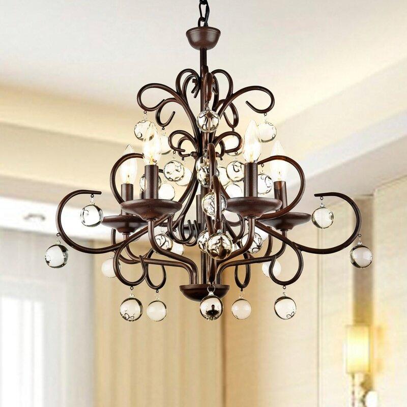 Charlton home frandsen wrought iron 5 light led mini chandelier frandsen wrought iron 5 light led mini chandelier aloadofball Choice Image