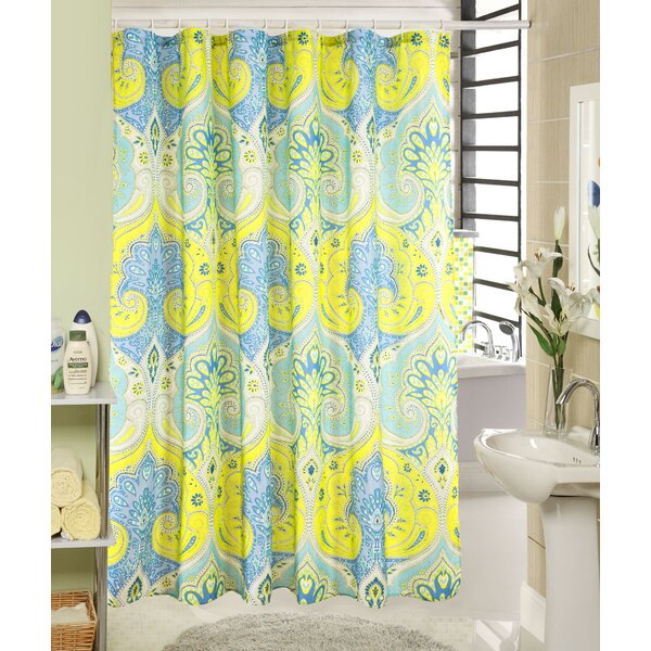 Louis Wave Printed Canvas Shower Curtain by Bungalow Rose
