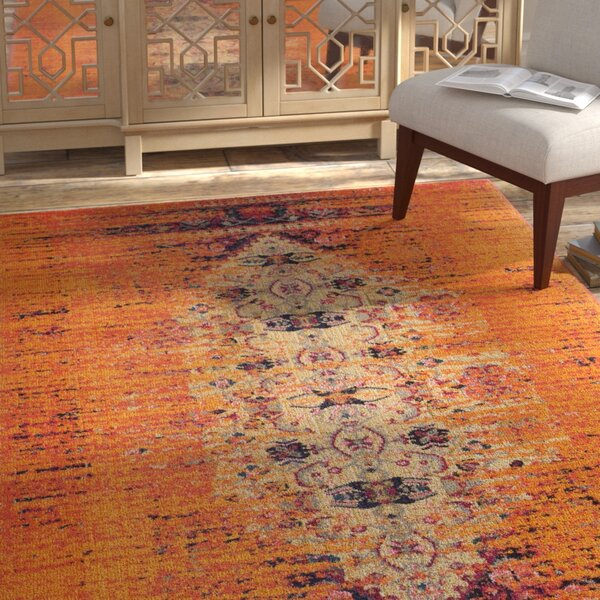 Sylvia Orange Area Rug by Bungalow Rose