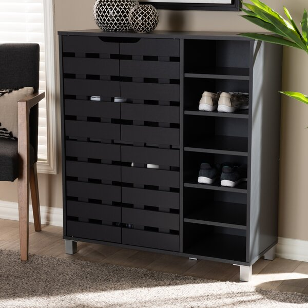 Modern and Contemporary 2-Door Wood 24 Pair Shoe Storage Cabinet
