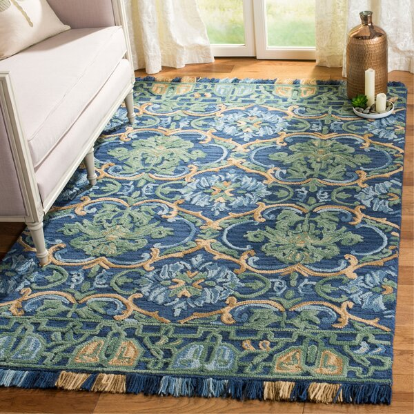 Bradwood Hand-Tufted Navy Area Rug by Charlton Home