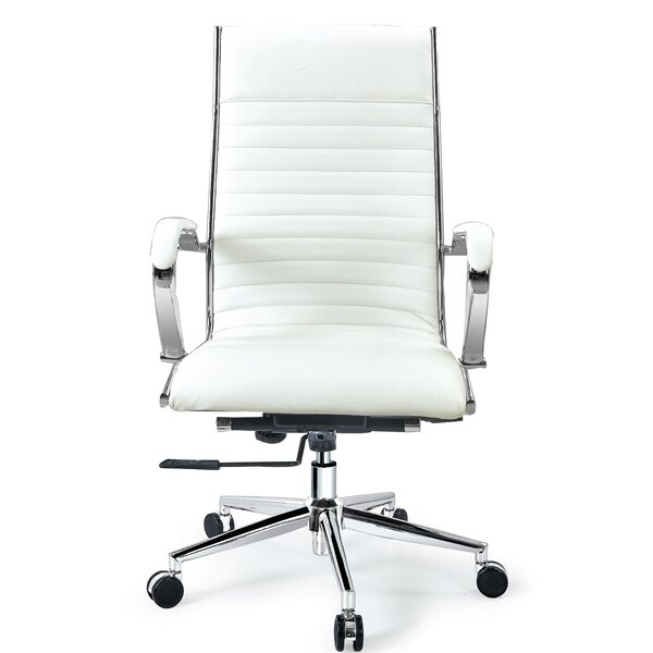 Covertt High Back Swivel Leather Executive Chair by Orren Ellis