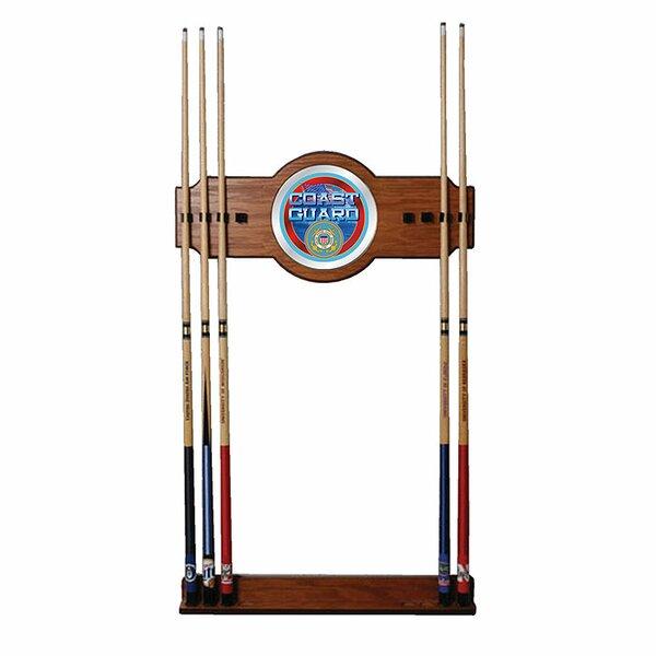 U.S. Coast Guard 2-Piece Wood and Mirror Wall Cue Rack by Trademark Global
