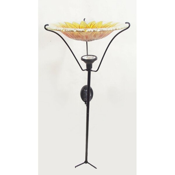 Sunflower Garden Lighted Birdbath by Continental Art Center
