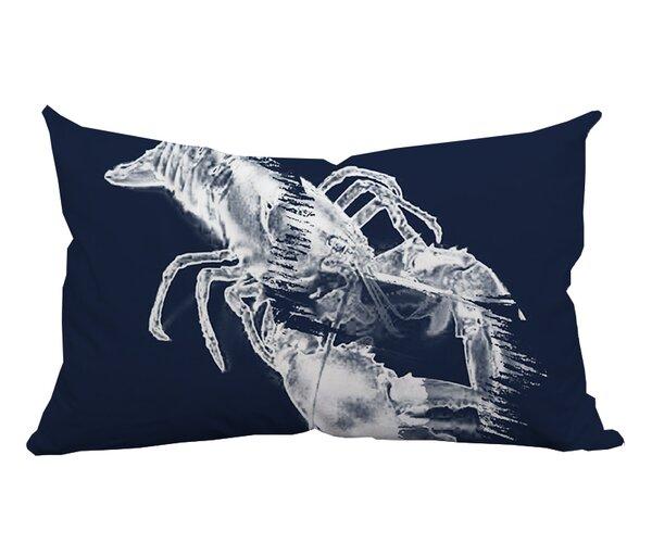 Lobster Watercolor Graphic Indoor/Outdoor Lumbar Pillow