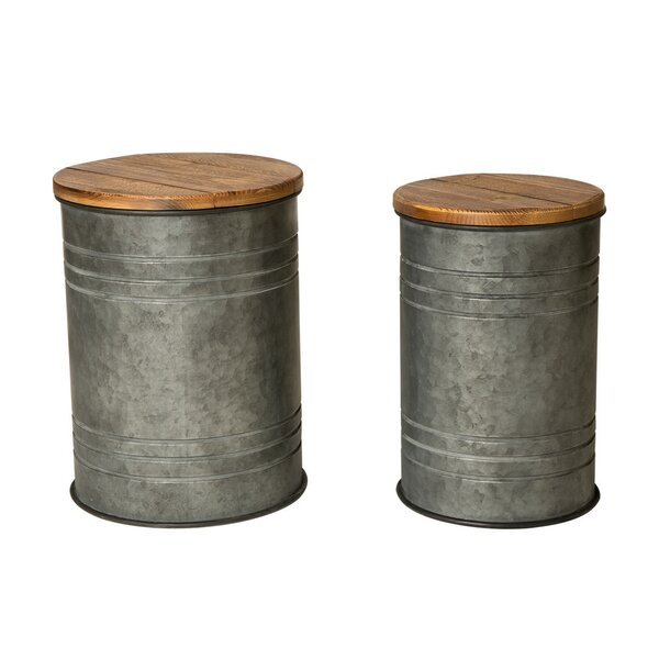 Pieper 2 Piece Storage Accent Stool Set by Gracie Oaks