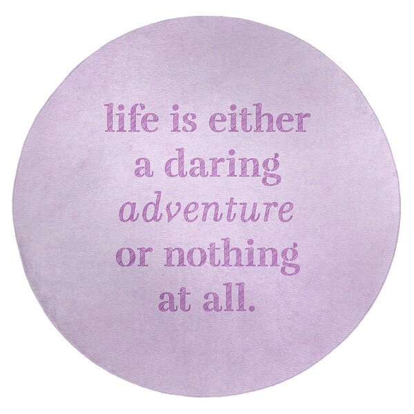 Handwritten Life Adventure Quote Poly Chenille Rug