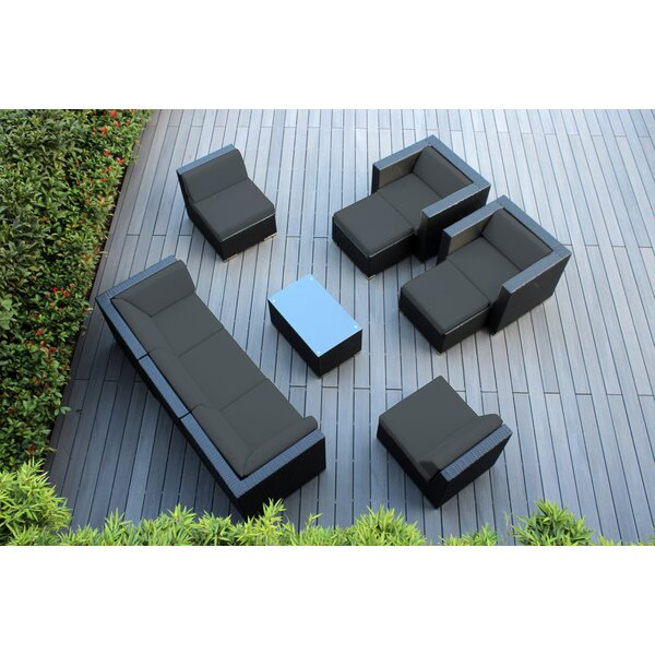 Kiara 10 Piece Rattan Sectional Seating Group with Cushions by Orren Ellis