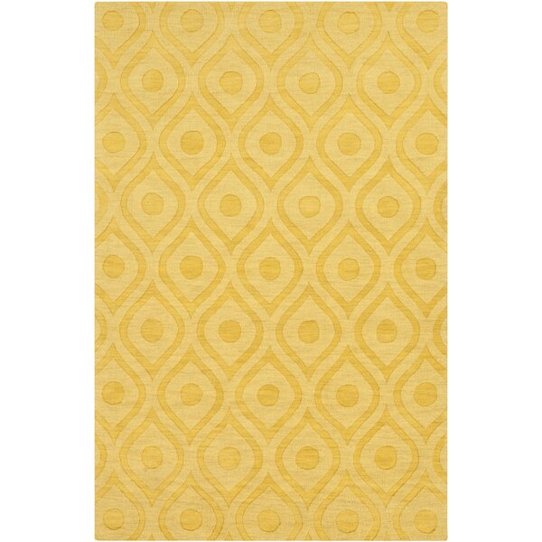 Castro Hand Woven Wool Yellow Area Rug by Wrought Studio