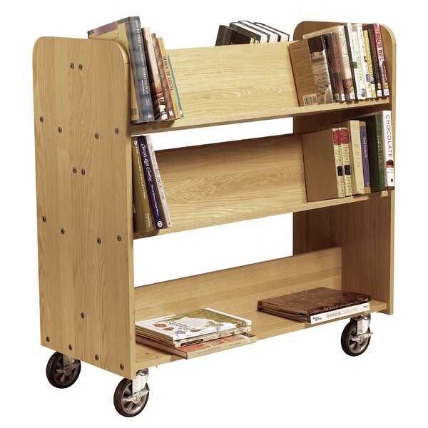 Mobile Series Double-Sided Sloped-Shelf Book Cart