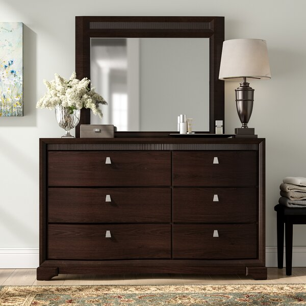 Noriega 6 Drawer Standard Dresser with Mirror by Alcott Hill
