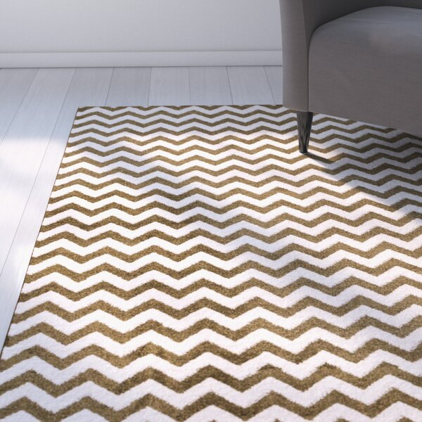Burgess Chevron Green/White Area Rug by Ebern Designs