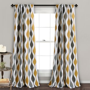 crowder mid century geo geometric room darkening rod pocket curtain panels set of 2 - Retro Curtains
