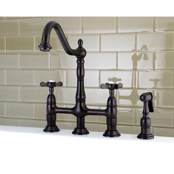 Essex Double Handle Bridge Kitchen Faucet With Side Sprayer