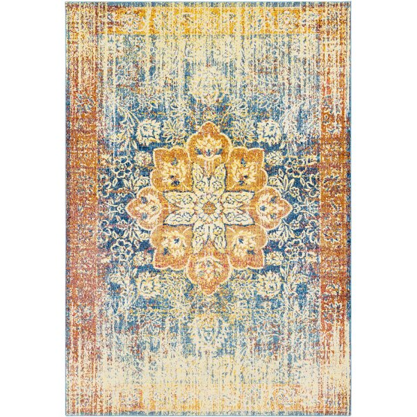 Tillamook Yellow/Blue Area Rug by Bungalow Rose