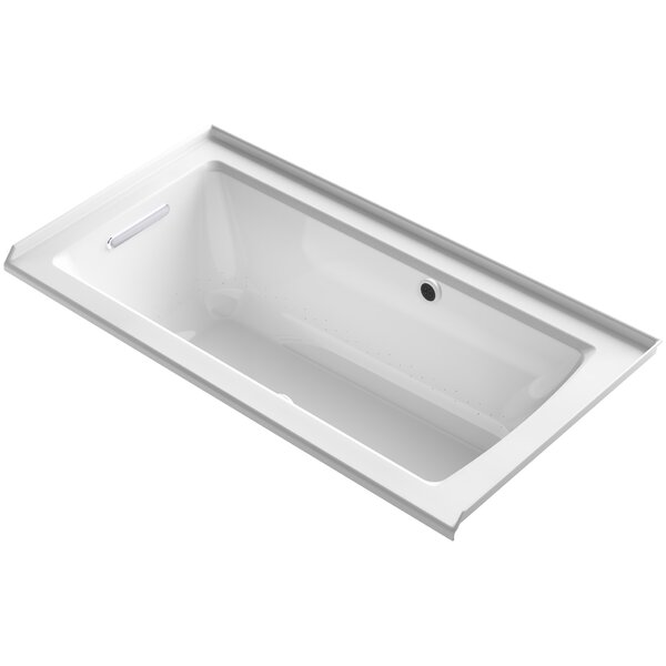 Archer Alcove BubbleMassage™ Air Bath with Tile Flange, Left-Hand Drain and Bask™ Heated Surface by Kohler