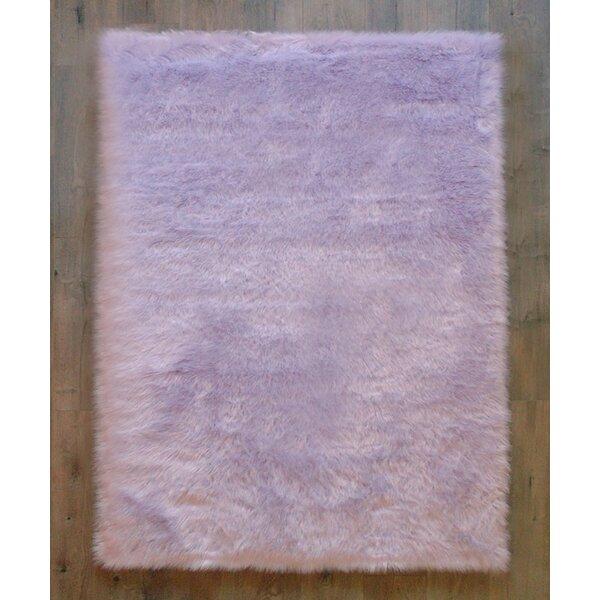 Demetra Faux Sheepskin Lavender/White Area Rug by Harriet Bee
