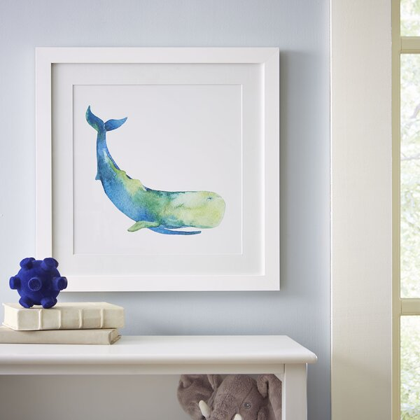 Sperm Whale Watercolor Sea Mammals Framed Print by Birch Lane Kids™