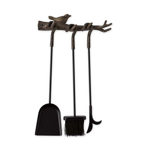 Bird on Branch Hanging 3 Piece Iron Fireplace Tool Set by Plow & Hearth