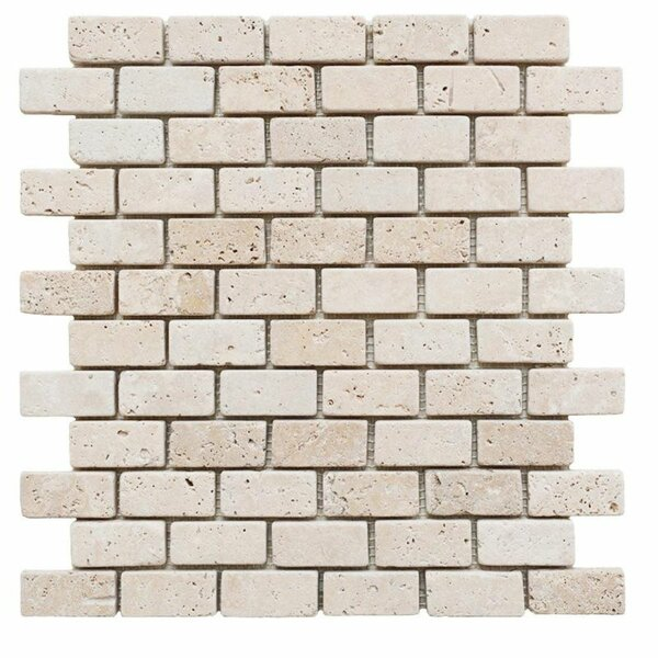 1 x 2 Travertine Brick Joint Mosaic Wall & Floor Tile