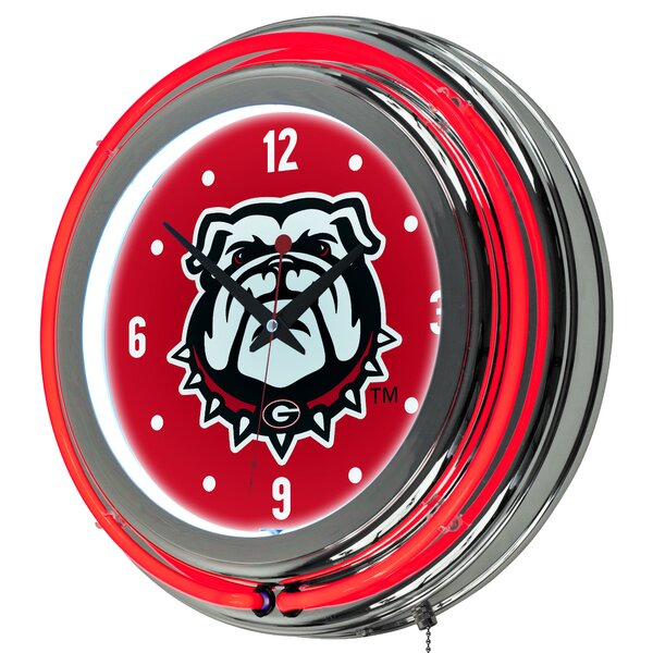 University of Georgia Neon 14.5 Wall Clock by Trademark Global