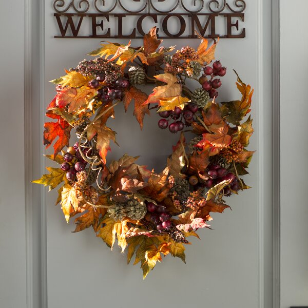 Maple and Berry Wreath by Three Posts