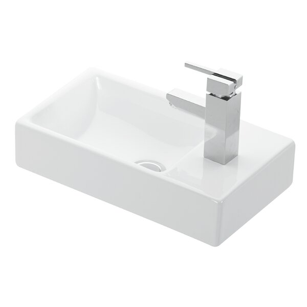 Minimal Ceramic Ceramic Rectangular Vessel Bathroom Sink by WS Bath Collections
