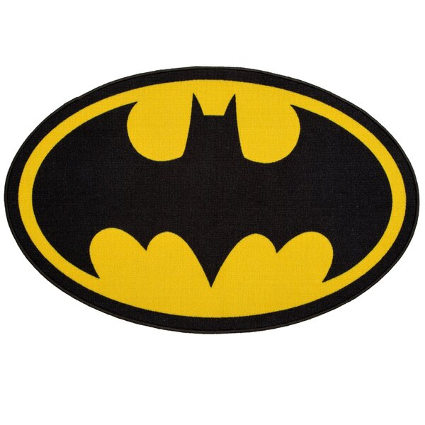 DC Comics Batman Soft Black/Yellow Area Rug by Delta Children