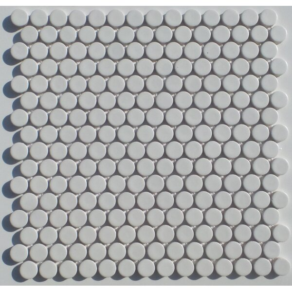 Penny Round 0.75 x 0.75 Porcelain Mosaic Tile in Matte White by Mulia Tile