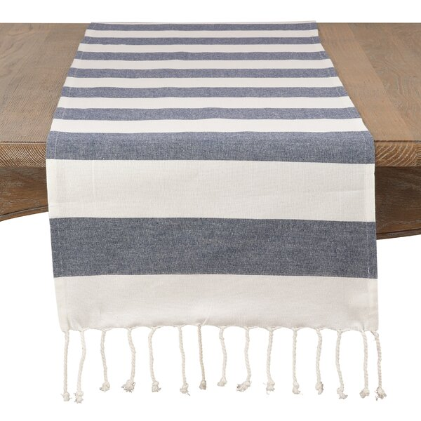 Villagomez All Cotton Striped Tassel Runner by Breakwater Bay